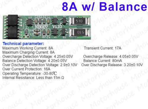 2S 2 cell 7.4V 8.4V 8A 18650 Li-ion Lithium Battery Protection PCB Board Balance