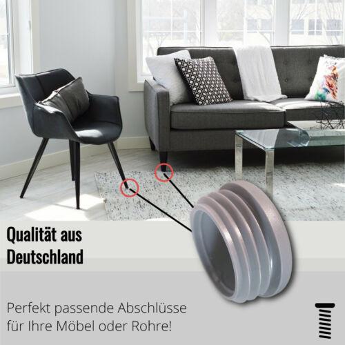 20 Abdeckstopfen//Möbelgleiter mit Lamellen für runde Rohre Grau Kunststoff