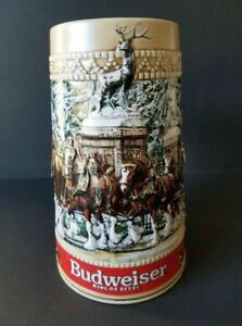 BUDWEISER-Holiday-Beer-Stein-1987-034-C-034-Collectors-Series-Anheuser-Bush-Inc