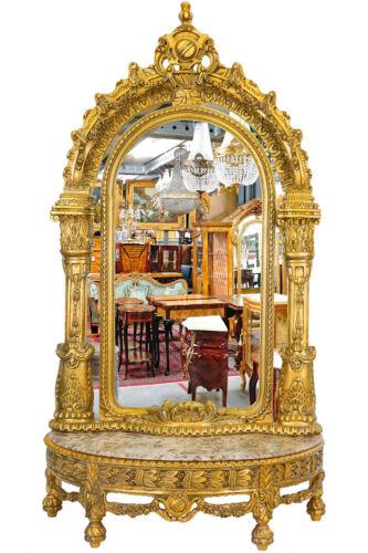 ROYAL STYLE LOUIS MIRROR CONSOLE ca.258cm goldene KONSOLE mit riesigem SPIEGEL