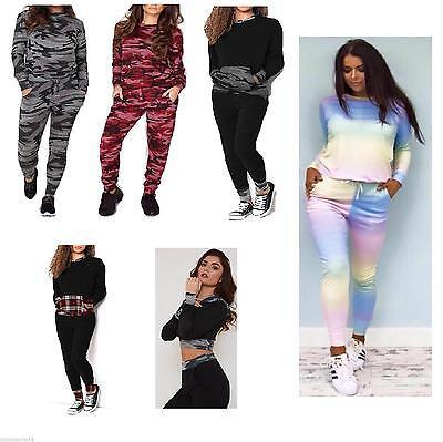 New Ladies Women/'s Camouflage Print Joggers Lounge Wear Set Tracksuit Pants 8-22