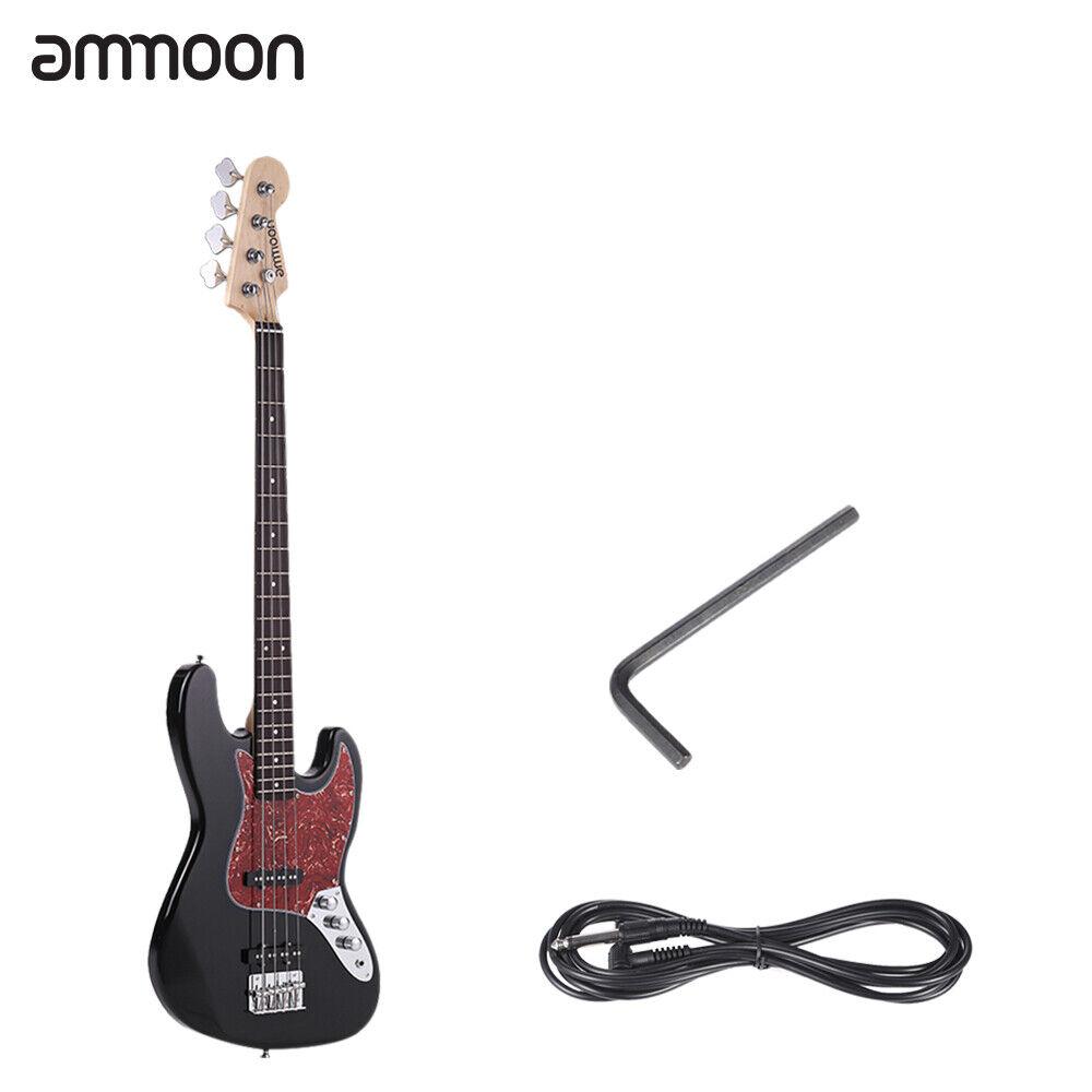 Ammoon Electric Jazz Bass Gitarre 4 String 24 Frets Basswood Body schwarz D8Z3