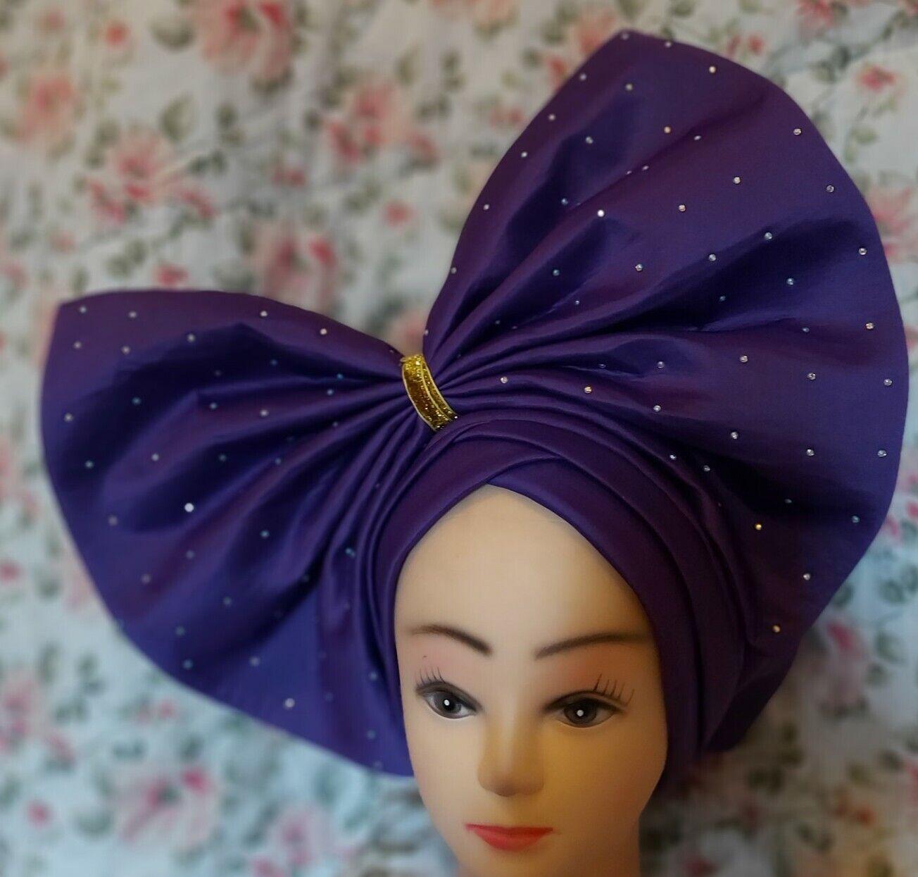 Nigerian Turban cap Gele Headtie Gele Already Made Auto Gele Headtie (purple)
