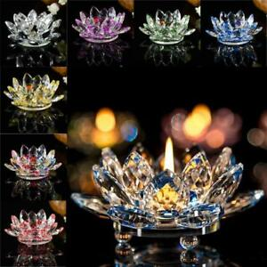 7-Colors-Crystal-Glass-Lotus-Flower-Candle-Tea-Light-Holder-Buddhist-Candlestick