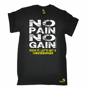 No-Pain-No-Gain-cheeseburger-T-Shirt-Body-Building-Gym-formation-cadeau-d-039-anniversaire