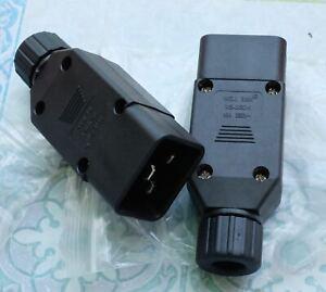 2X-Well-Shin-WS-003D-1-Male-Plug-Connector-16A-250V-connecteur-male-lot-de-2