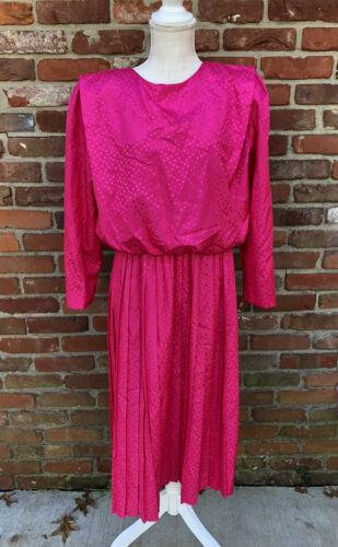 Vintage 80's Womens Work Career Dress Hot Pink sz