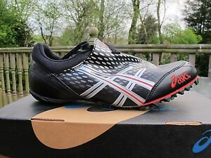 ASICS HYPERSPRINT Punte Spike GN500 Nero Argento LIQUIDO ROSSO INFUOCATO UK 7.5 41.5