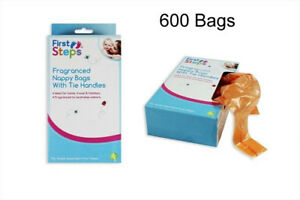 Nappy Bags Fragranced Pack of 300/600 tie handle baby clean fresh first steps