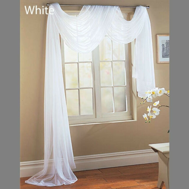 WATERFALL FAUX SILK & WINDOW SHEER SCARF  VOILE WINDOW  CURTAIN DRAPES VALANCE