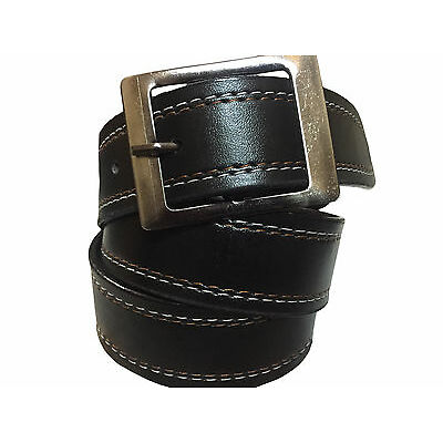 Men's Formal Belt Black color two side White and Red stitching Light weight Belt