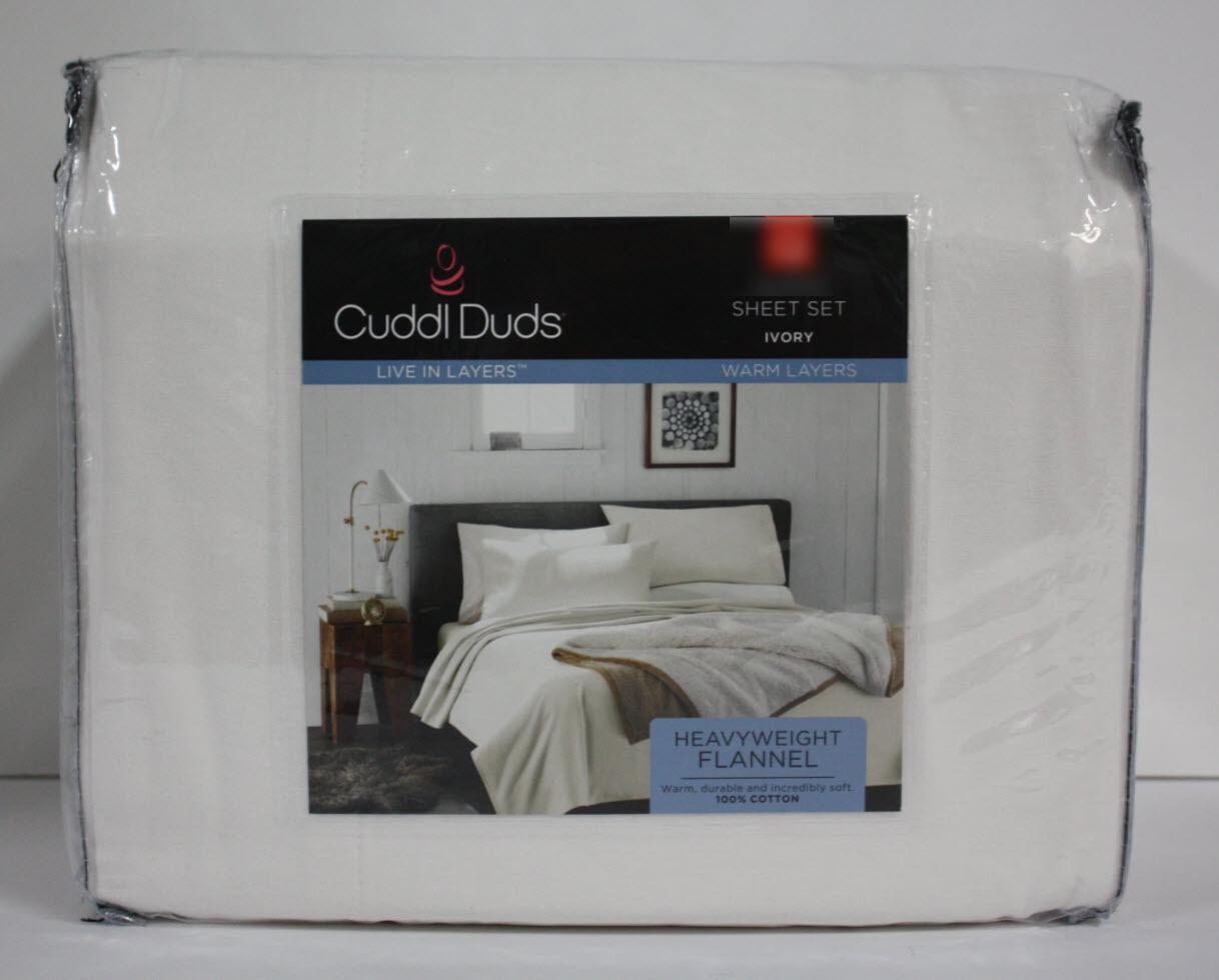 Cuddl Duds Heavy Weight 5 oz Cotton Cotton Cotton FLANNEL Sheet - IVORY Ecru -  QUEEN NEW 313cea