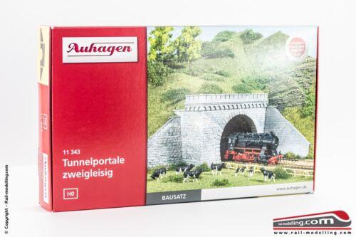 Portale tunnel ferroviario in pietra doppio binario co AUHAGEN 11343 H0 1:87