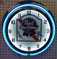 18 Pabst Blue Ribbon Beer Sign Pbr Double Neon Clock
