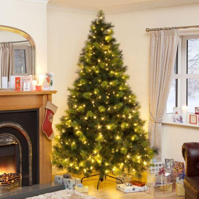 Christmas Tree Xmas Colorado Spruce 7ft Pre Lit Warm White And Blue Lights Led