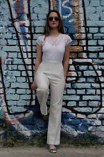 Damen Hose Schlaghose weiße Spitze mit Unterstoff True VINTAGE women pants white