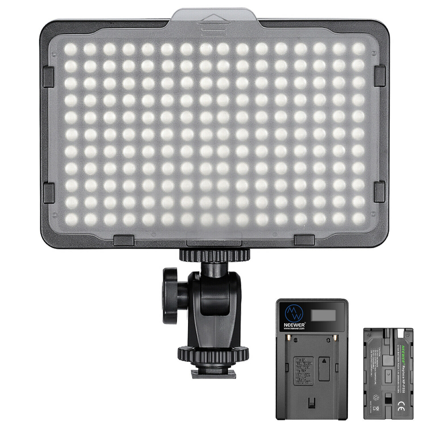 Neewer Dimmable 176 LED Video Light on Camera Light Panel with Battery & Charger