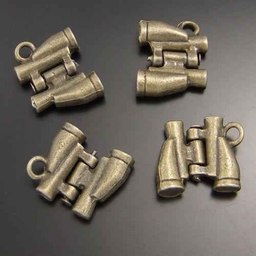 02371 Antique Bronze Vintage Alloy Nice Jumelles Craft Pendentif Charm 30PCS