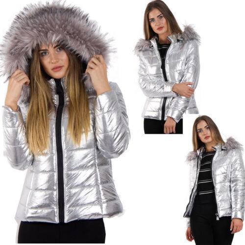 gasa con plata piel las de cálida acolchada para de Abrigo con de capucha mujeres piel qf8TTv