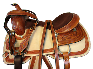 HORSE SHOW TRAIL LEATHER15  16  ROPING RANCH WESTERN SADDLE SILLA DE CABALLO