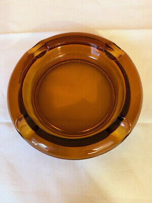 large Vintage 8 Inch Round Ash Tray Heavy Amber Brown Glass Ashtray cigar rests