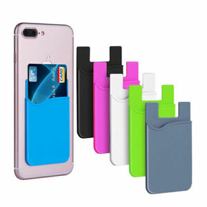 Phone-Stick-On-Wallet-Credit-ID-Card-Holder-Silicone-use-For-iPhone-Adhesiv-W5P8