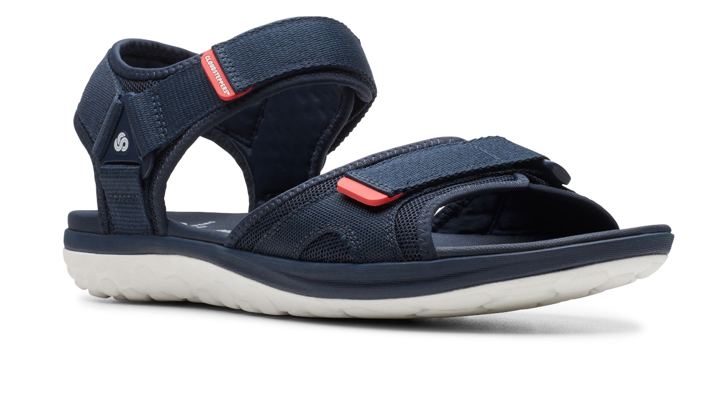 Clarks mens Step Beat Sun Navy Soft Textile Sandals With Double Touch Fastening