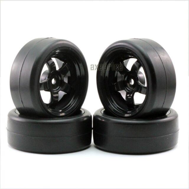 4PCS 12mm Hub Wheel Rim & Tires foam HSP HPI Redcat 1:10 On-Road RC Car 20043