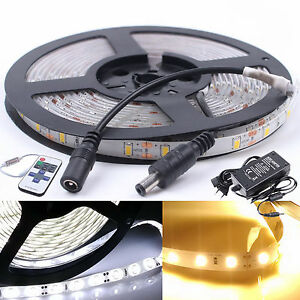 Bande-LED-blanc-blanc-chau-5M-1-10M-3528-5630-SMD-Strip-Ruban-kit-etanche-Non