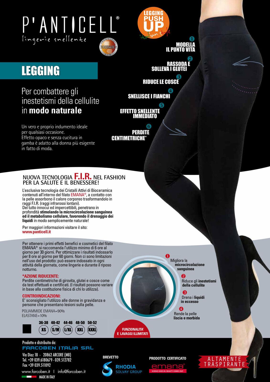 P'anticell leggings 100d push up a tessuto Emana fibra bioceramica anticellulite