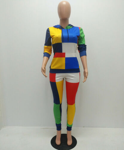 Fashion Women Hooded Long Sleeve Color Blocking Bodycon Fall Casual Jumpsuit 2pc