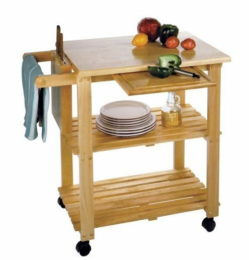 Small Kitchen Cart Island Utility Solid Wood Prep Station Storage Shelves Wheels
