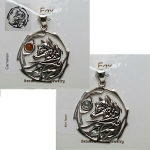 STERLING-SILVER-925-034-FOX-034-INDEPENDENCE-w-GEMSTONE-AMULET-PENDANT-JEWELRY