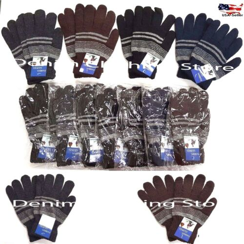6~12 Men Women Striped Dark Colors Xmas Knit Stretch Magic Warm Winter Gloves XL