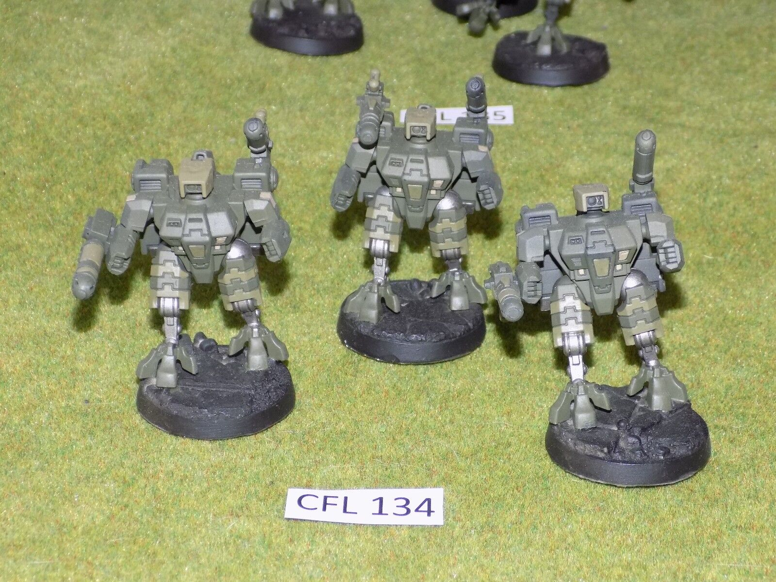 Warhammer 40k Tau 3 CRISIS BATTLESUITS built painted on resin bases (CFL 134)