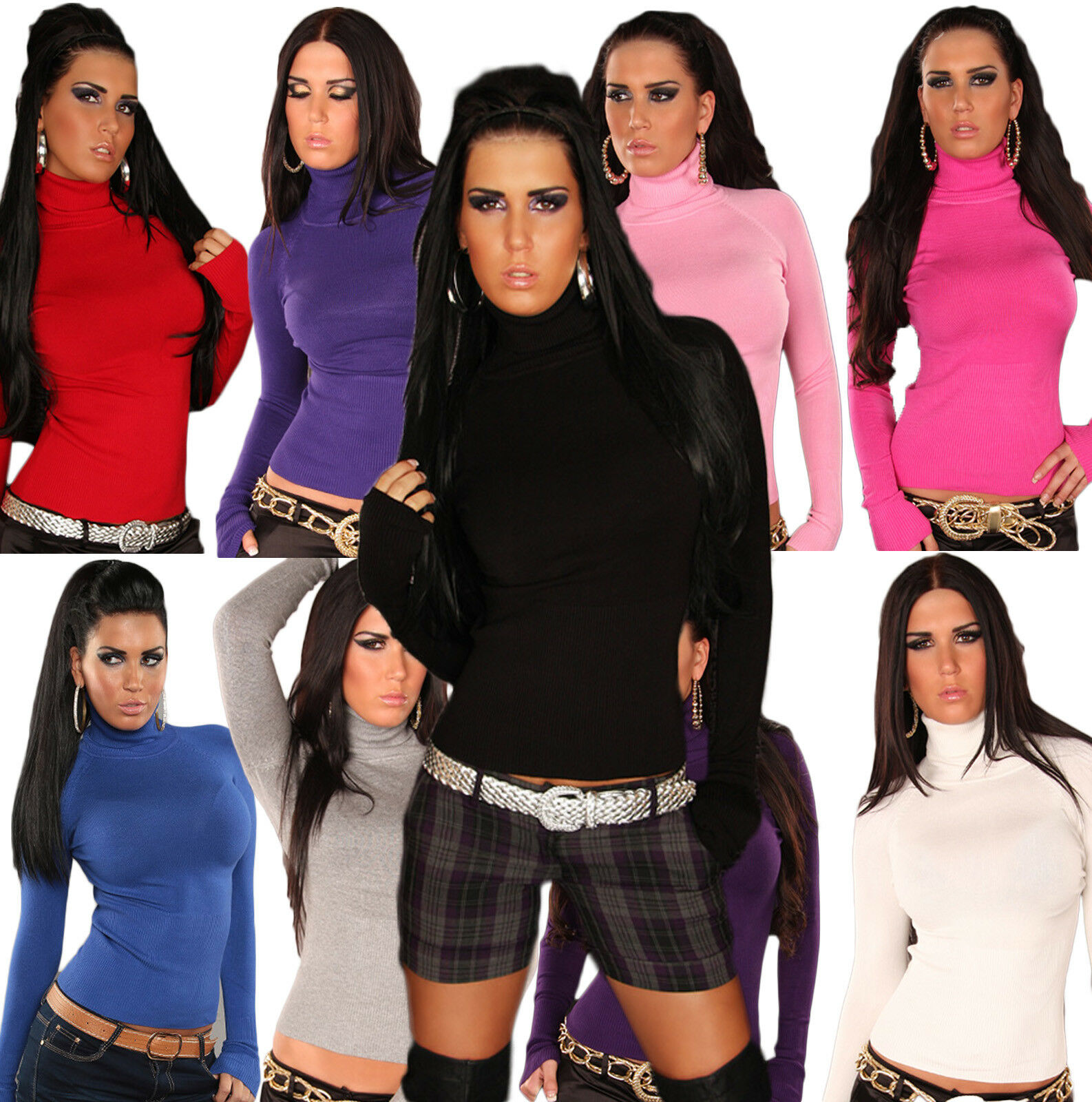 PULL COL ROULÉ FEMME FIN UNI TOP SEXY FASHION T.S M 36 38 color AU CHOIX
