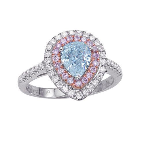 Real Gia 1 68ct Natural Fancy Light Blue Pink Diamonds Engagement Ring 18k Ebay
