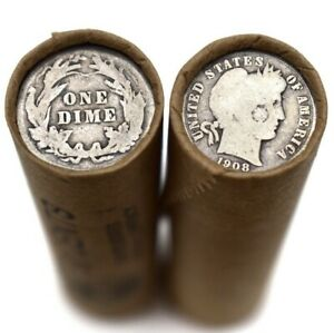 90-Silver-Barber-Dime-on-Old-Wheat-Cent-Roll-Rare-US-Coins-Lincoln-Mixed-Dates