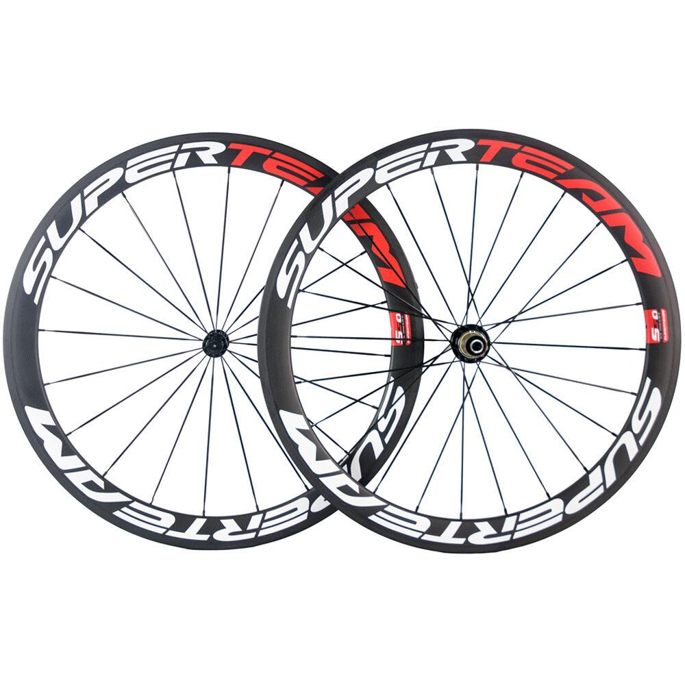 Carbon Road Wheels 50mm Clincher Carbon Wheelset R13 Hub Racing Wheel Set 3K