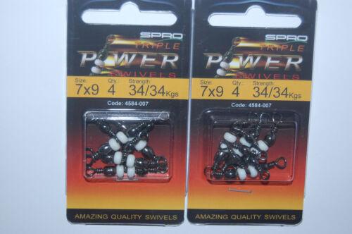75lb 4584-007 2 packs spro t-turn power triple swivels size 7x9  34//34kgs