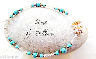 ✫SIOUX✫ HANDCRAFTED TURQUOISE & SHELL GEMSTONE ANKLE CHAIN ANKLET ANKLE BRACELET