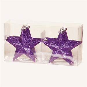 Christmas Tree Decoration 6 Pack 100mm Shatterproof Glitter Star Baubles Purple