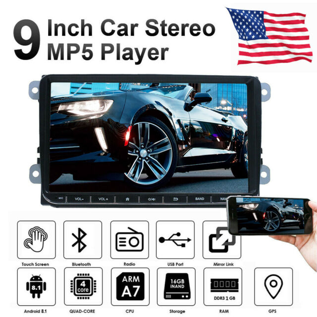 """Quad Core Android 6.0 WIFI 9/"""" Double 2DIN Car Radio Stereo MP5 GPS Player For VW"""