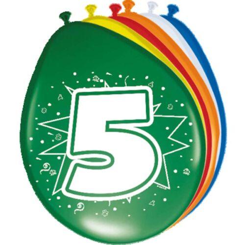 8x ZAHLEN BALLONS bunt 5 Geburtstag fünf Jahre Luftballon Party Deko Zahl F08205