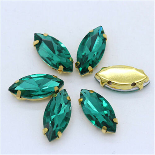 20pcs 17x32mm sew on rhinestone cabochons navette crystal glass DIY golden claw