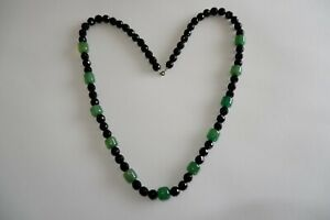 ART DECO PERIOD REAL FRENCH JET & GLASS NECKLACE - C1920/30'S LONGER LENGTH FUN!