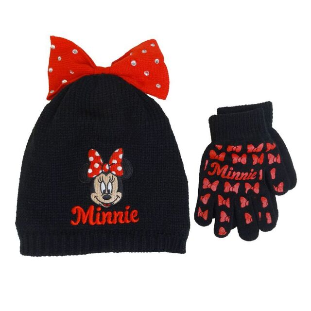 2eca64579c1 Girl Disney 2pc Minnie Mouse Bow Beanie Hat   Gloves BLK Red Acrylic ...
