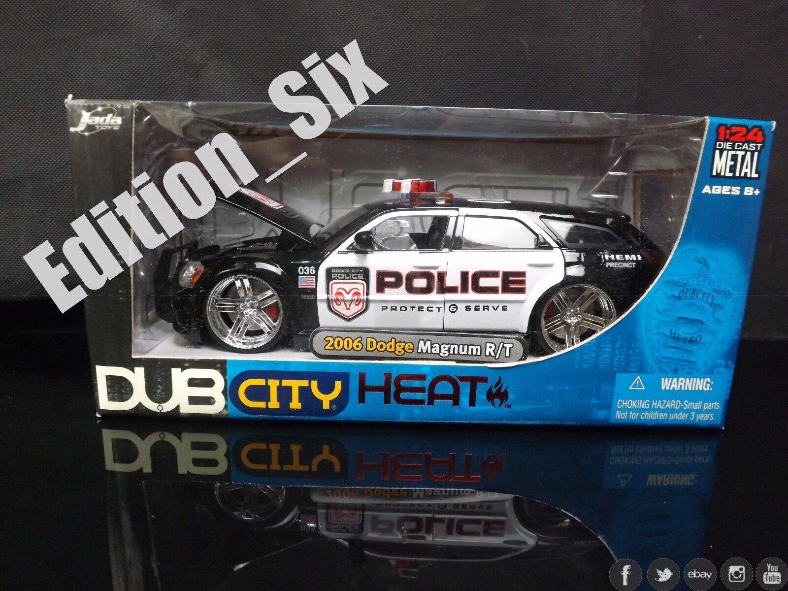 JADA TOYS chaleur 1 24 2006 DODGE MAGNUM R T police Muscle Voiture Nouveau Emballé