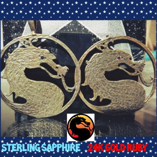 Mortal Kombat Dragon Pendant Set 24K Gold Ruby Ste