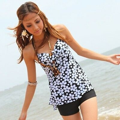 One Piece Floral Halter Neck Swimsuit  Padded Tankini Top With Attached Bottom